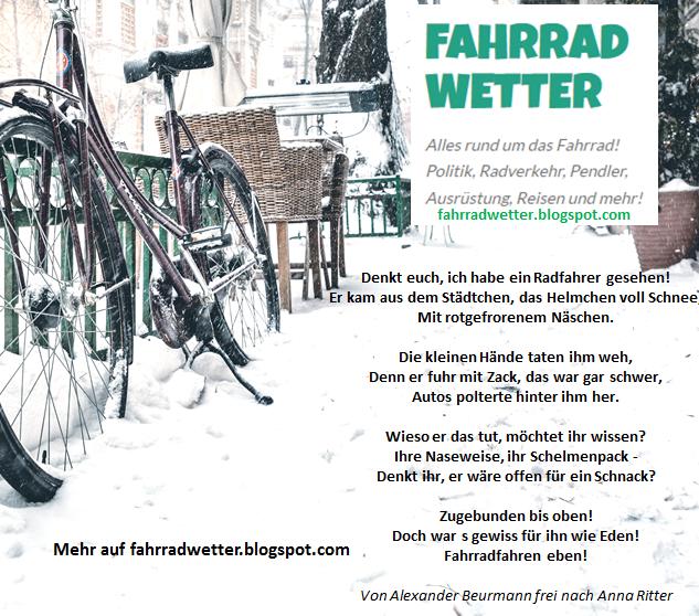 Weihnachtsgedicht: Denkt euch, ich habe einen Radfahrer gesehen!