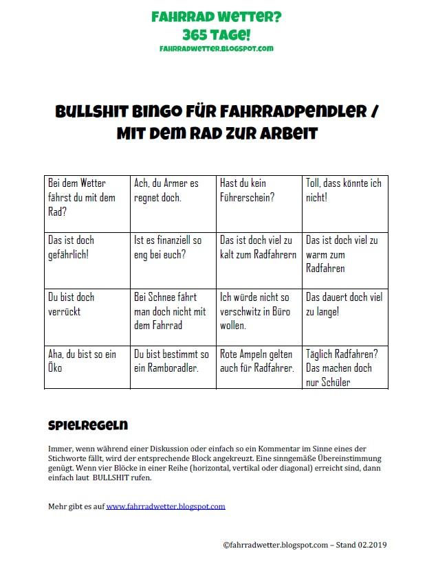 Bullshit Bingo für Alltagsradler  – Teil 6 – Pendeln mit dem Fahrrad – Mit dem Rad zur Arbeit